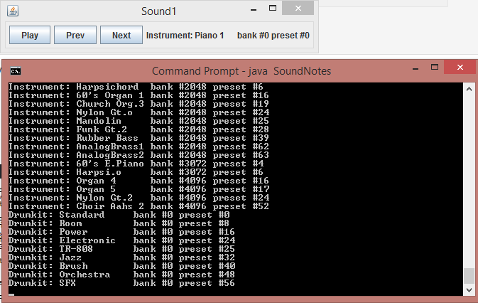 Listing instruments found on sound card.